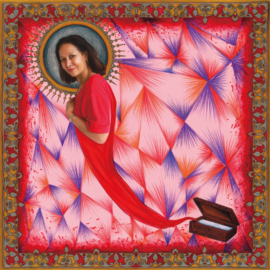 Salome Hyams Parikh (Mumbai), 2012-2013,Photo-Collages with Gouache and Acrylic Paint on Hahnemuhle Paper, 35 x 35 inches