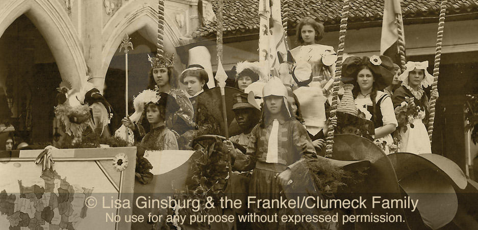 Parade of 1918, Annetta Clumeck inthe large hat on the right & ThelmaClumeck as 'Joan of Arc'