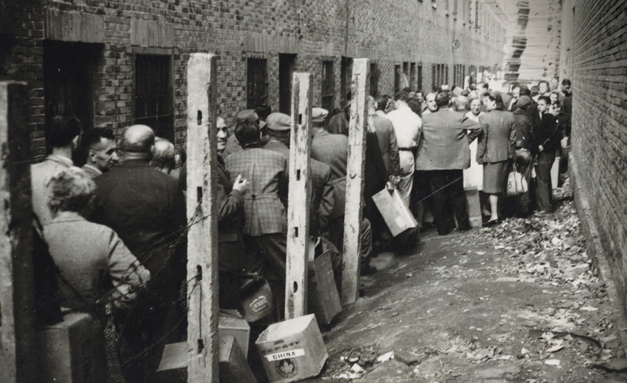 Shanghai Refugees receiving clothing