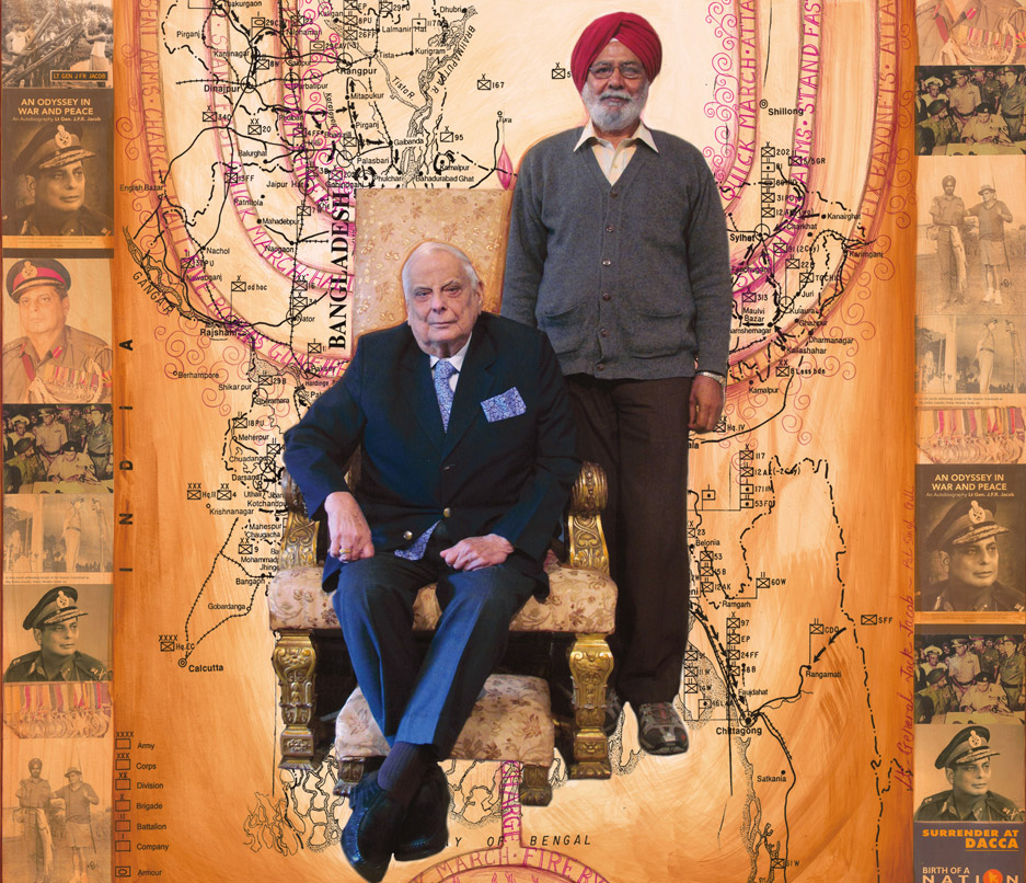Lt General (Retired) Jack Jacob (and Pal Singh Gill his lifelong assistant), 2012-2013,Photo-Collages with Gouache and Acrylic Paint on Hahnemuhle Paper, 35 x 35 inches