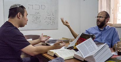 Shai in class discussion with Rev.Menachem